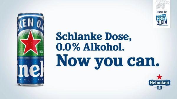 100% auf Heineken 0.0 in der schlanken Dose