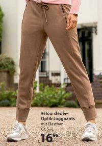 Damen Veloursleder-Optik-Joggpants