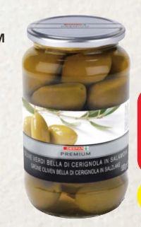 Grüne Oliven Bella di Cerignola in Salzlake von Despar Premium